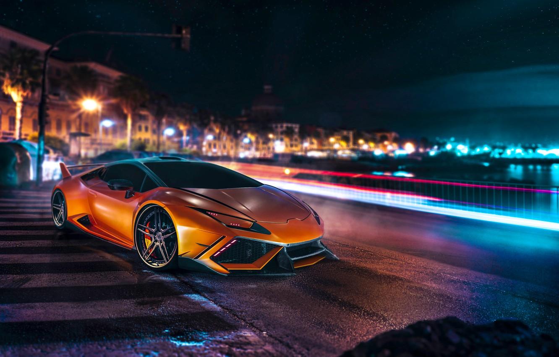 Photo wallpaper Lamborghini, Orange, Front, Night, DMC, Supercar, Huracan, LP610-4, Customs