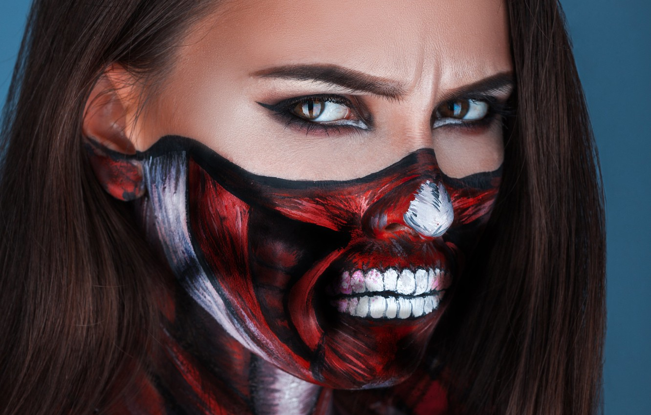 Photo wallpaper look, girl, face, anger, brown eyes, body art