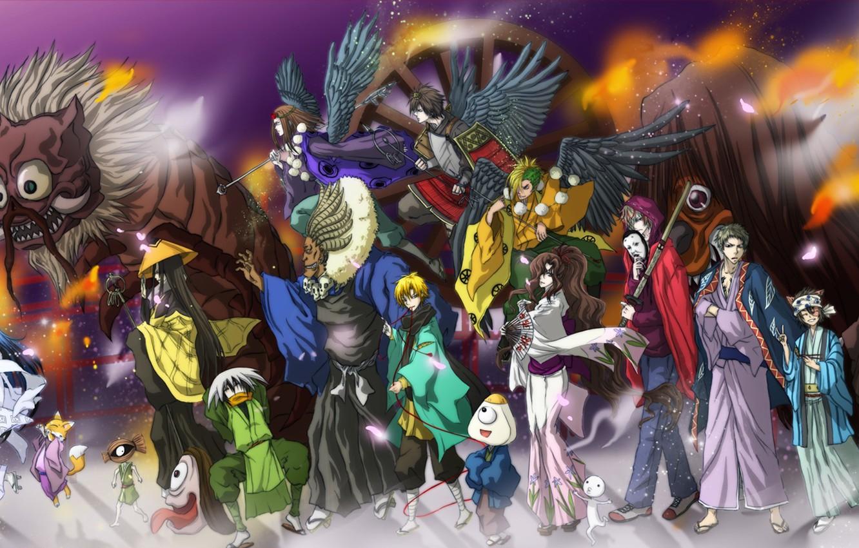 Photo wallpaper demon, fire, flame, sword, game, weapon, anime, katana, army, ken, blade, asian, manga, japanese, kimono, …