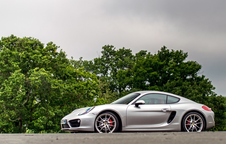 Photo wallpaper Porsche, Cayman, silver, trees