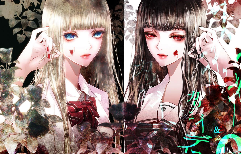 Photo wallpaper leaves, girls, the inscription, blood, plants, form, blue eyes, bow, red eyes, art, Kiyohara Hiro