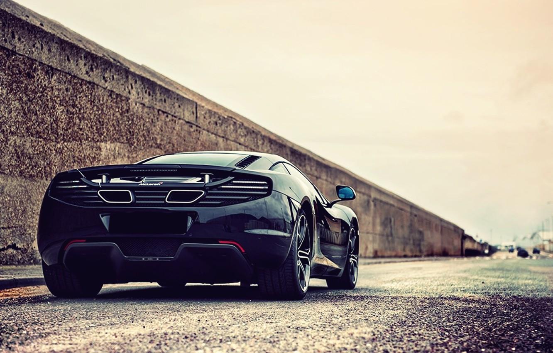 Photo wallpaper road, car, machine, machine, city, the city, street, McLaren, track, black, car, black, rear view, …