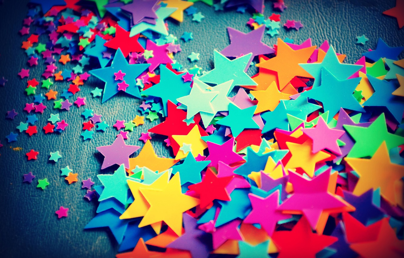 Photo wallpaper colored, small, stars, large