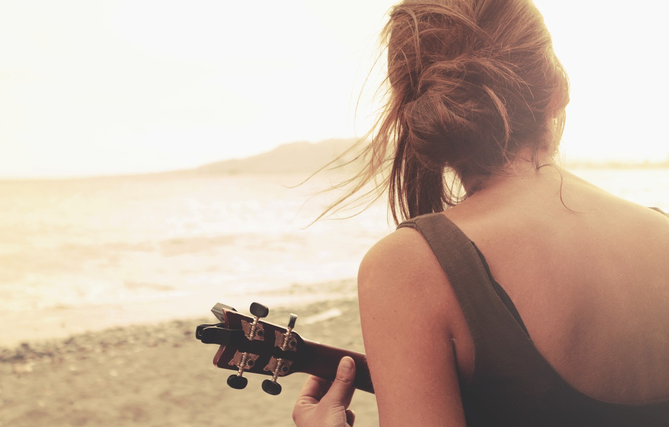 Photo wallpaper girl, hair, back, guitar, plays