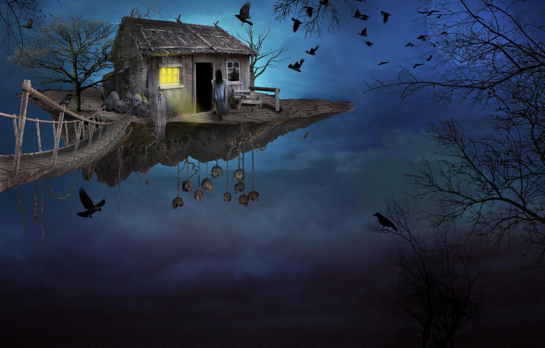Photo wallpaper the sky, girl, birds, bridge, house, island, art