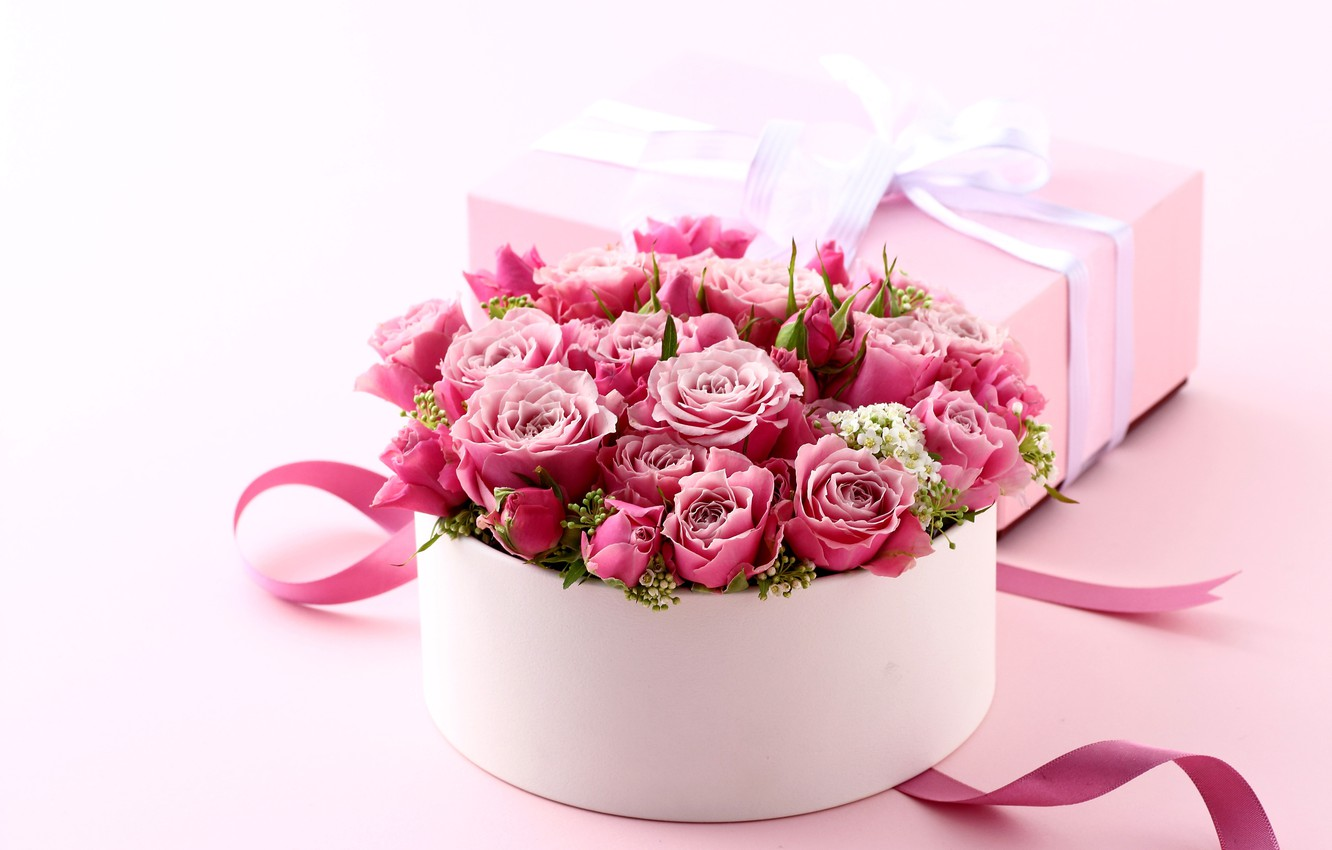 Photo wallpaper box, gift, roses, bouquet, love, pink, heart, pink, flowers, romantic, Valentine's Day, gift, roses