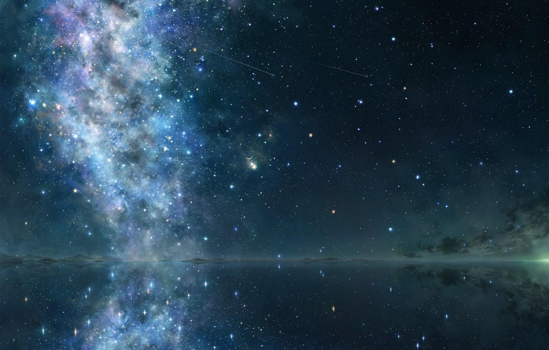 Photo wallpaper the sky, space, stars, reflection, art, iy tujiki