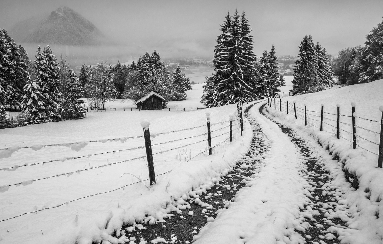 Wallpaper House Misty Road Winter Mountain Snow Fog Fence Village Freeze Countryside Farm Foggy Mist Cloudy Frost Images For Desktop Section Pejzazhi Download