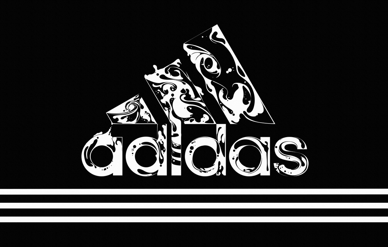 Photo wallpaper Black, Strip, Style, Background, Adidas, Logo, Adidas