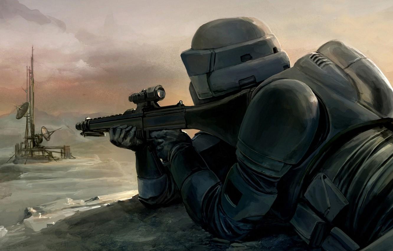 Photo wallpaper Star Wars, Art, Scout Trooper, Sniper