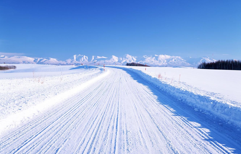 Photo wallpaper winter, road, mountains, horizon