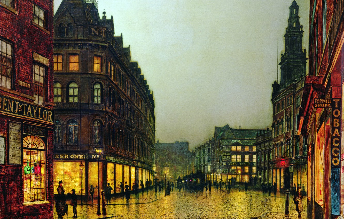 Photo wallpaper light, the city, people, street, Windows, home, picture, lights, signs, showcase, John Atkinson Grimshaw