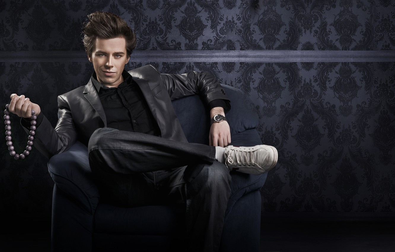 Photo wallpaper jeans, chair, guy, jacket, 100%, offers and you become gay, exactly, gay