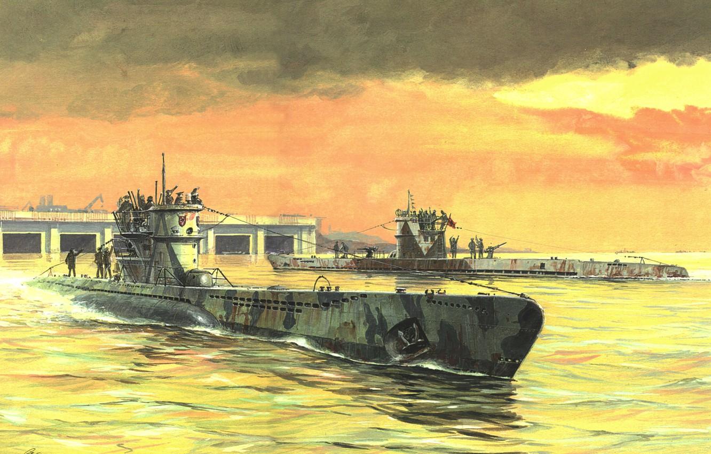 Photo wallpaper figure, boats, art, underwater, submarine, type, waters, German Navy, France. WW2, VIIC, diesel, IXC, the …