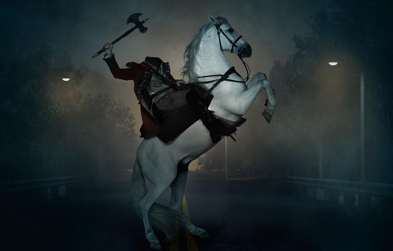 Photo wallpaper USA, road, bridge, fog, death, horse, mystery, Sleepy Hollow, CBS, first season, Headless Horseman, Horseman …