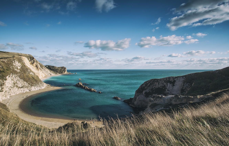 Photo wallpaper England, Dorset, LANDSCAPE, SEA, COAST, CLOUDS, BEACH, OCEAN