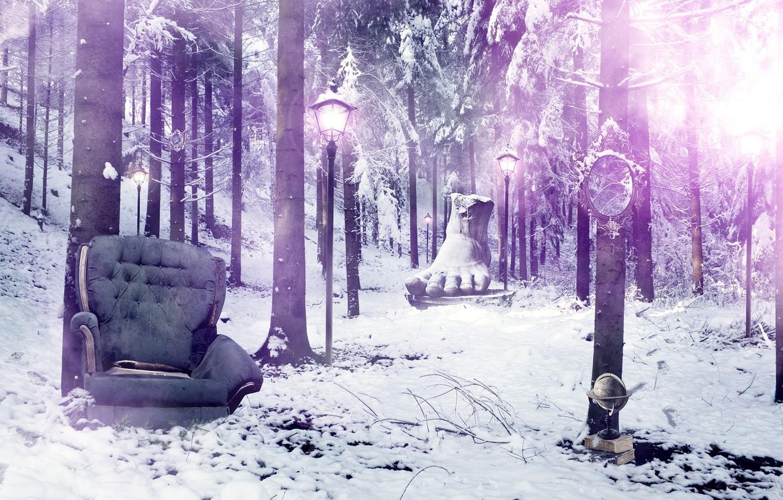 Photo wallpaper forest, chair, mirror, lights, foot