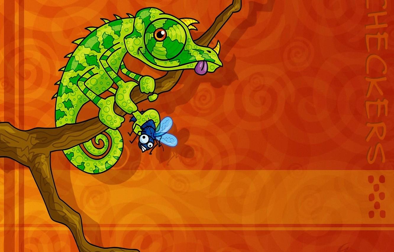 Photo wallpaper chameleon, fly, Vector