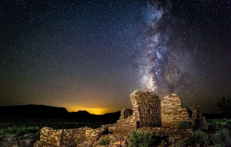 Photo wallpaper space, stars, night, ruins, the milky way
