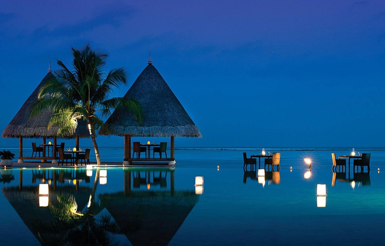 Wallpaper Pool Beach Ocean Evening Tropical Dining