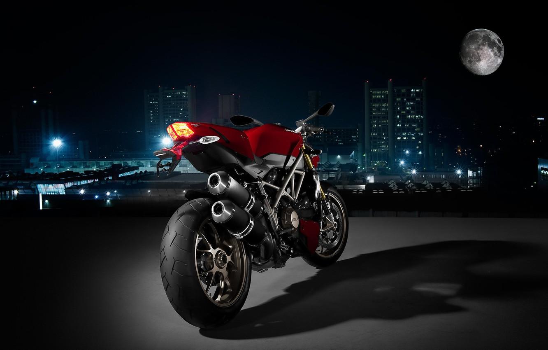 Photo wallpaper the city, Moto, Night, Ducati