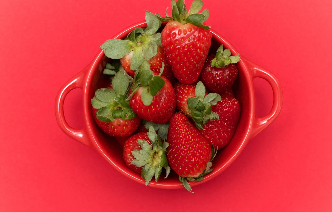 Photo wallpaper strawberry, Cup, Red cubed