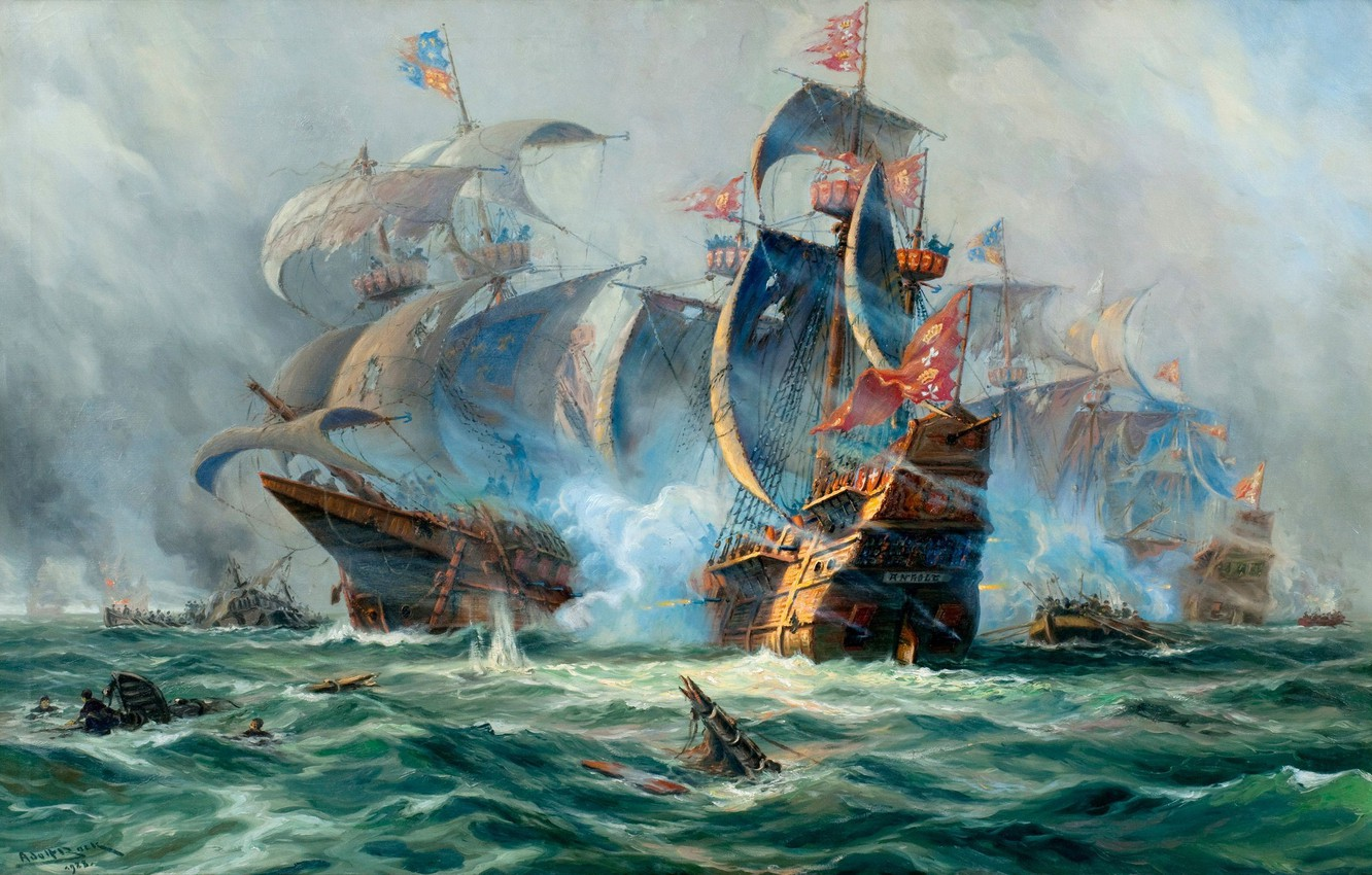 Photo wallpaper ships, picture, the battle, painting, sailboats, Adolf Bock