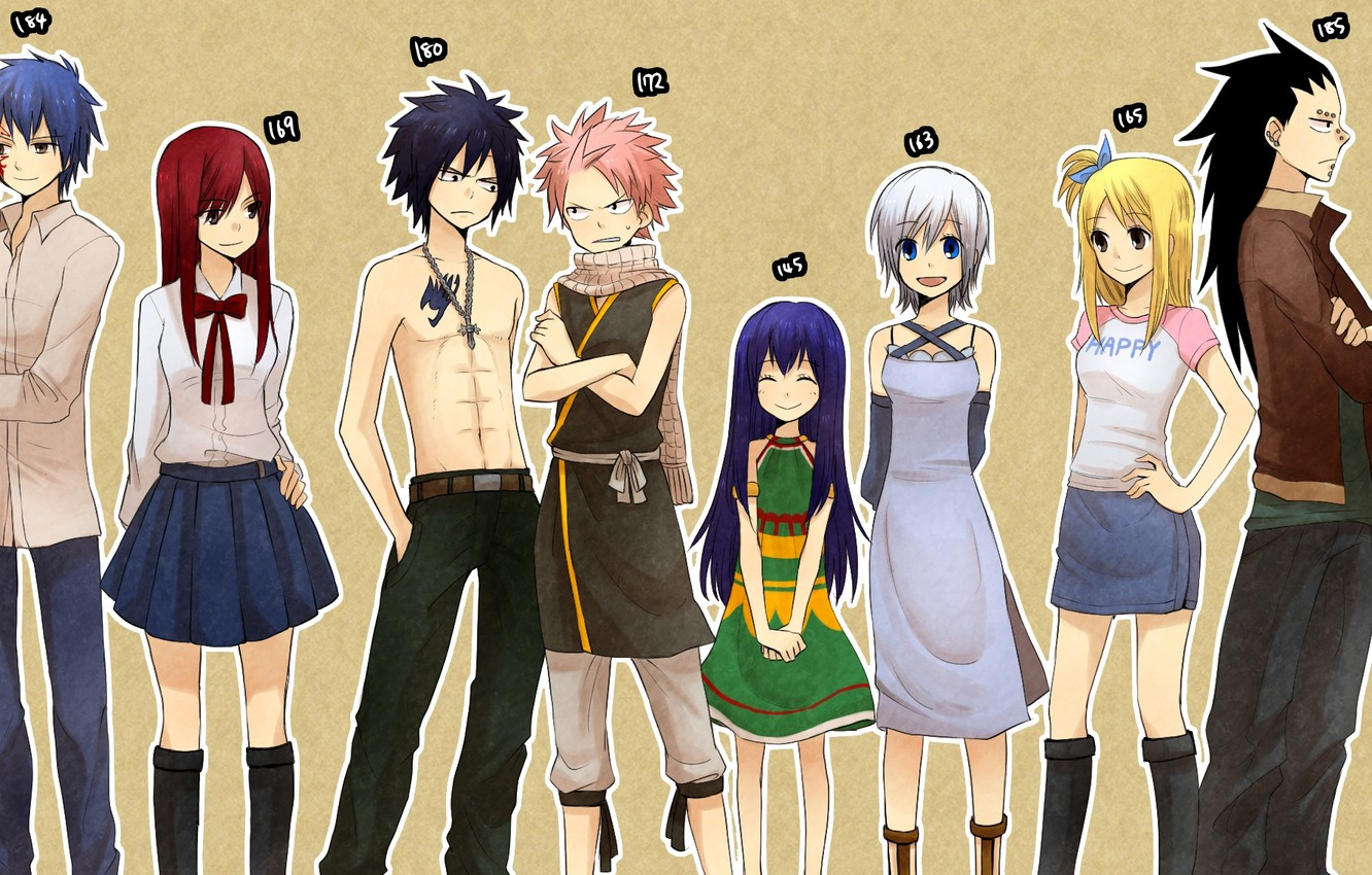 Photo wallpaper smile, girls, cross, anime, scarf, dress, tattoo, guys, tale of fairy tail, growth, Fairy Tail, …