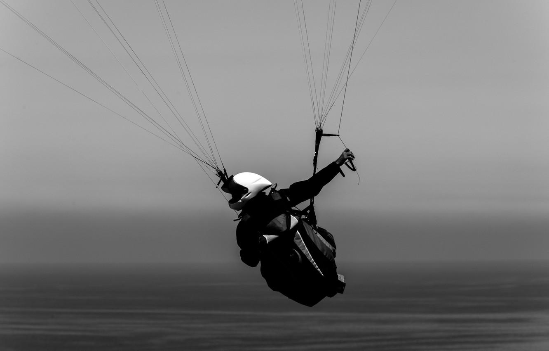 Photo wallpaper sea, pilot, paraglider, extreme sports