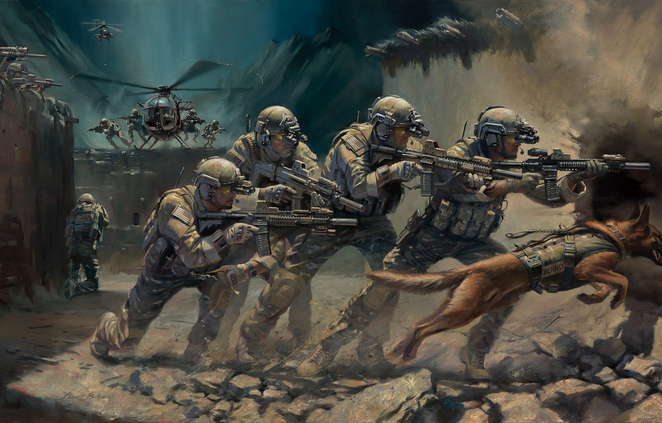 Photo wallpaper weapons, dog, art, helicopter, soldiers, capture, equipment, operation, special forces, assault rifles