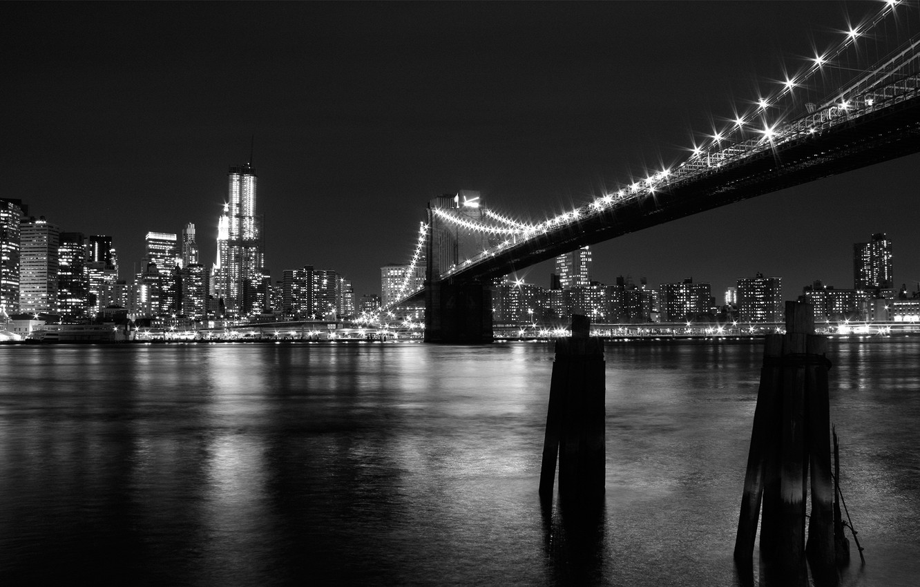 Wallpaper Bridge Lights Black And White New York Images For