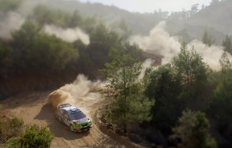 Photo wallpaper Ford, Dust, Speed, Race, Skid, Tilt-Shift, Focus, WRC, Rally, Blur