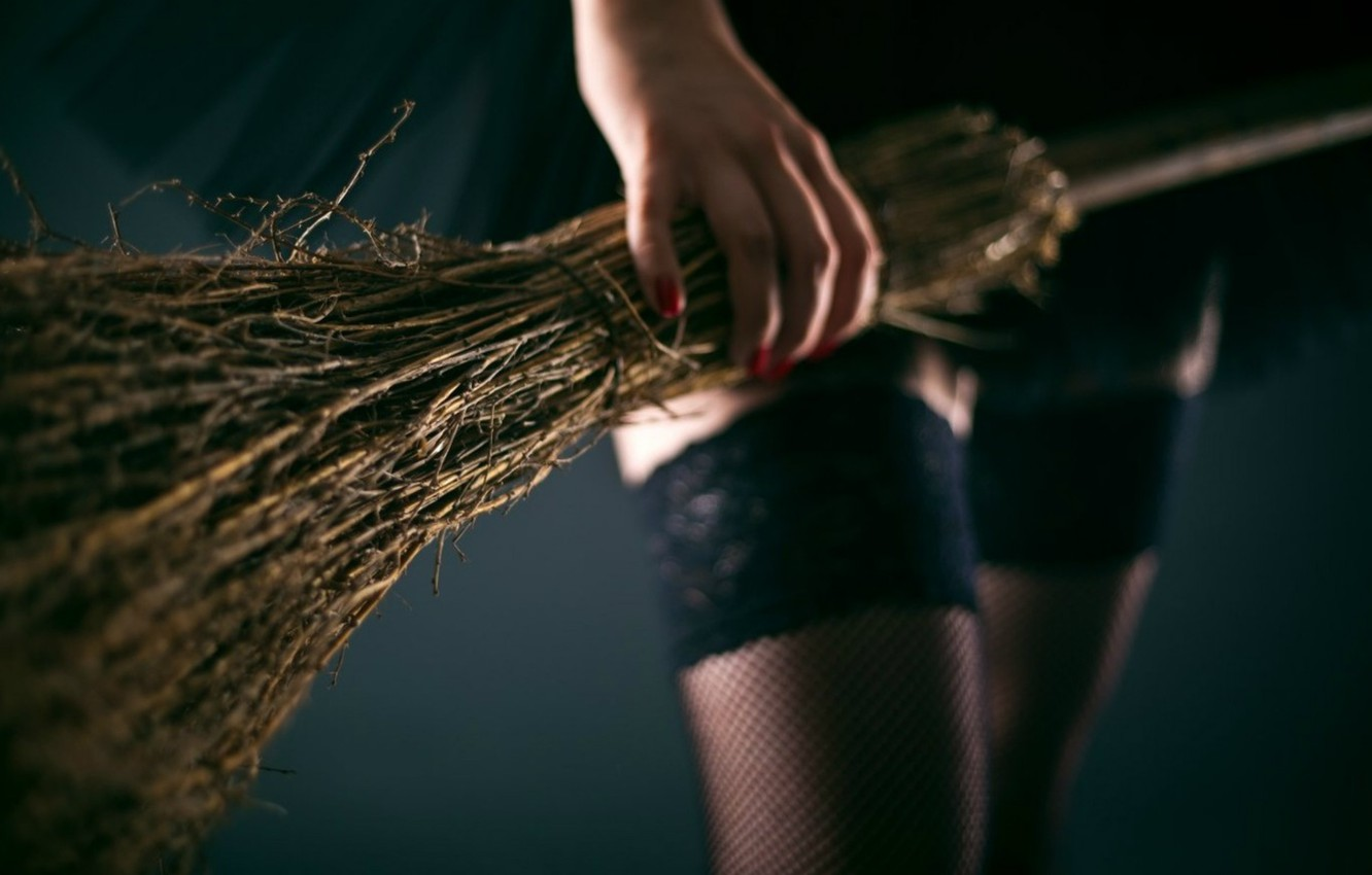 Photo wallpaper witch, broom, black stockings, witch, black magic, pomelo