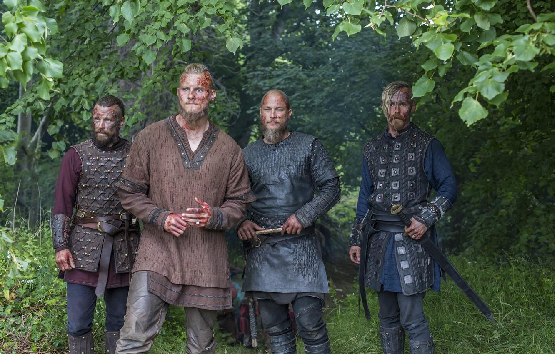 Photo wallpaper warriors, Vikings, The Vikings, Travis Fimmel, Ragnar Lothbrok, Alexander Ludwig, Bjorn