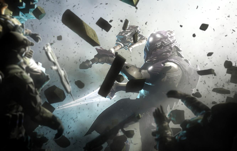 Photo wallpaper the wreckage, weapons, warrior, helmet, enemies, Halo Wars 2