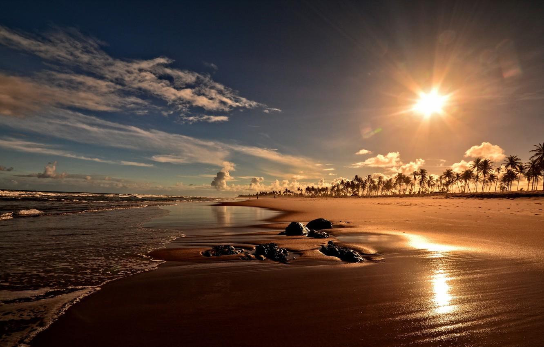 Photo wallpaper Brazil, Bahia, Sunset on Costa do Sauipe beach