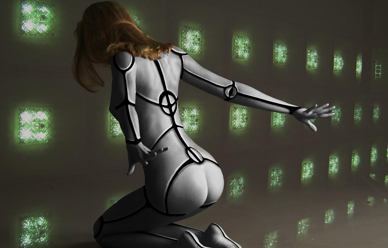 Photo wallpaper girl, fiction, hair, back, hands, art, cyborg