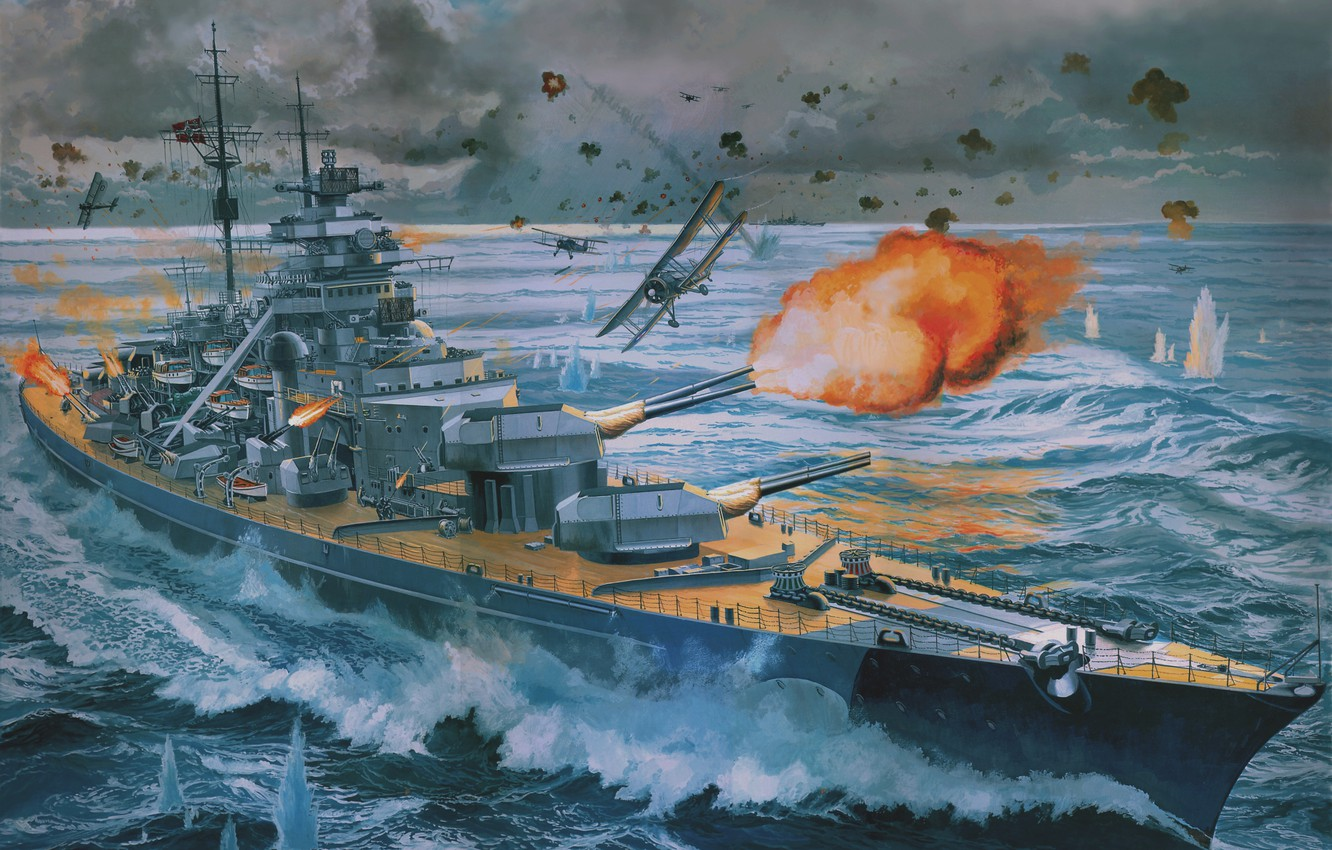 Photo wallpaper The sky, Sea, Figure, The plane, Ship, Shooting, Battle, Cruiser, Battleship, Bismarck
