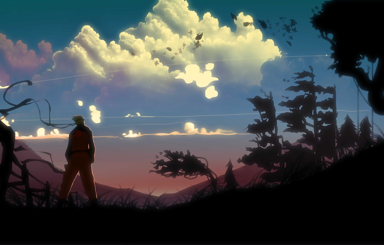 Photo wallpaper clouds, trees, landscape, the wind, art, guy, naruto, back