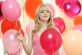 Picture joy, smile, makeup, dress, actress, pink, hairstyle, blonde, colorful, balloons, Emma Stone, Emma Stone