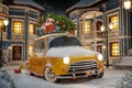 Picture winter, auto, snow, snowflakes, yellow, abstraction, retro, background, lights, toys, tree, art, gifts, Parking, Parking, ...