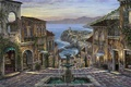 Picture sea, coast, home, the evening, Italy, pictures, fountain, painting, Robert Finale, Vernazza, Summer in Vernazza, ...