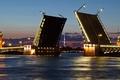 Picture Northern capital, drawbridge, white nights, Saint Petersburg, Neva, Wallpaper, the city, Peter, Russia, night, wallpaper, ...