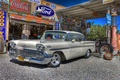 Picture retro, classic, gas station, car, dressing, service, Chevrolet, 1958, Chevy