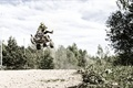Picture forest, road, trees, racer, rider, trees, sport, Sport, the sky, road, sky, forest