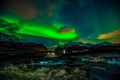 Picture The Lofoten Islands, night, Northern lights, Norway, winter