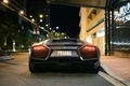 Picture Night city, Rear view, Lamborghini, Reventon, SuperCar, Grey