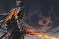 Picture fire, sword, fantasy, game, armor, art, painting, artwork, warrior, fantasy art, Dark Souls, cape, flaming ...