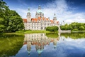 Picture the sky, clouds, trees, lake, reflection, the building, Germany, mirror, Hanover, New town hall, Gustav ...