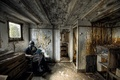 Picture people, interior, the situation, gas mask, book